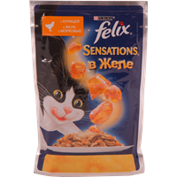 Корм для взрослых кошек FELIX Sensations с курицей в желе с морковью консер.