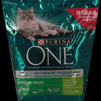 Корм для взрослых кошек PURINA ONE С индейкой+цельными злаками живущих в дом. условиях