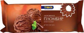 Мороженое ЛЕНТА шоколадный пломбир 15% брикет без змж 200г
